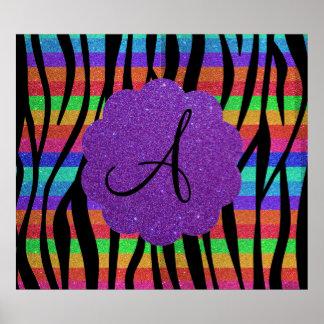 La cebra del arco iris del brillo raya monogramas póster