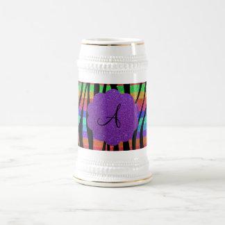 La cebra del arco iris del brillo raya monogramas tazas de café