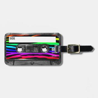 La cebra del arco iris raya el casete etiqueta para equipaje