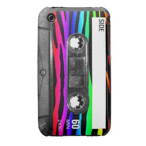 La cebra del arco iris raya el casete Case-Mate iPhone 3 protectores
