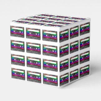 La cebra del arco iris raya la etiqueta del casete caja para regalo de boda