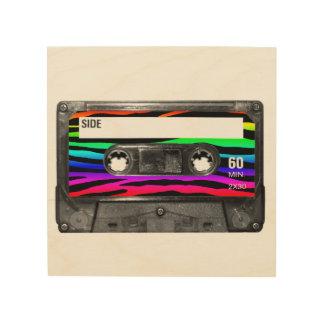 La cebra del arco iris raya la etiqueta del casete impresión en madera