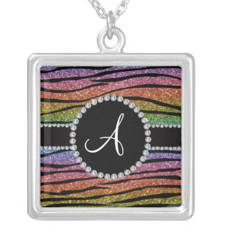 La cebra del brillo del arco iris del monograma ra joyeria