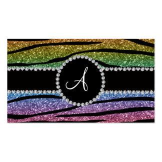 La cebra del brillo del arco iris del monograma ra tarjeta de negocio