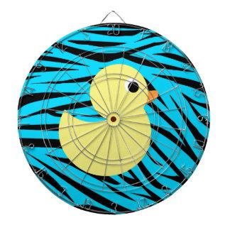 La cebra del trullo raya el pato amarillo tablero de dardos