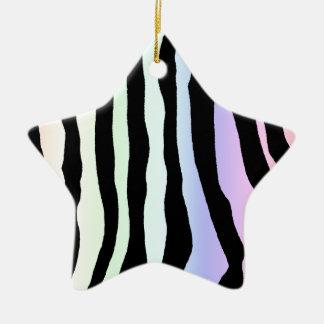 La cebra en colores pastel suave del arco iris ray adornos de navidad