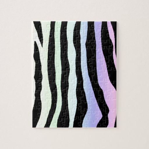 La cebra en colores pastel suave del arco iris ray puzzle con fotos