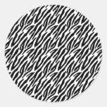 La cebra femenina del negro de la diversión raya etiquetas redondas