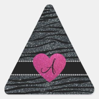La cebra gris del brillo del monograma raya el pegatina triangular