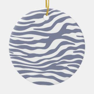 La cebra gris fresca raya el estampado de animales ornaments para arbol de navidad