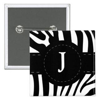 La cebra inicial personalizada de J raya el botón Pin