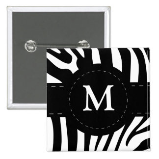 La cebra inicial personalizada de M raya el botón, Pin
