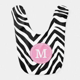 La cebra negra y rosada raya el monograma de baberos de bebé