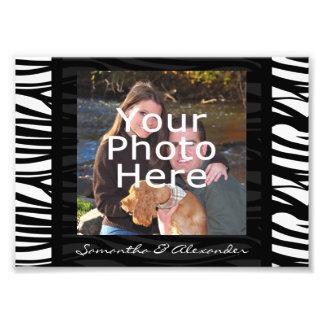 La cebra personalizada raya la frontera negra de l impresión fotográfica