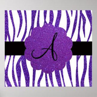 La cebra púrpura del brillo raya el monograma poster