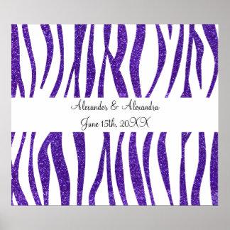 La cebra púrpura del brillo raya favores del boda póster