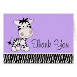 La cebra púrpura linda le agradece las tarjetas