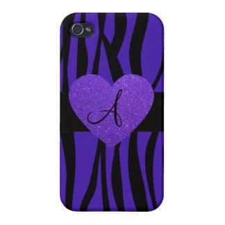 La cebra púrpura raya el corazón del monograma iPhone 4 funda