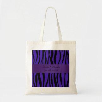 La cebra púrpura raya favores del boda bolsas