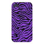 la cebra púrpura raya la caja de Iphone iPhone 4 Fundas