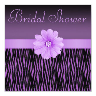 La cebra púrpura raya la ducha nupcial de la flor invitación 13,3 cm x 13,3cm