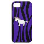 La cebra púrpura raya unicornio iPhone 5 carcasas
