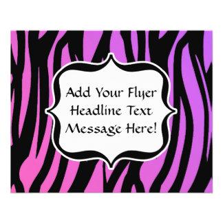 La cebra púrpura/rosada caliente raya el monograma tarjetas publicitarias
