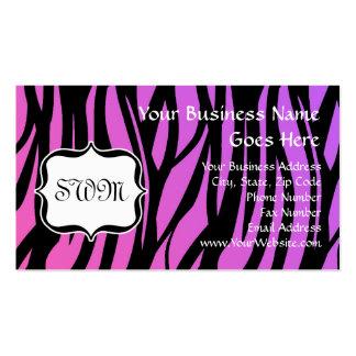 La cebra púrpura rosada caliente raya el monograma plantillas de tarjetas personales