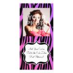 La cebra púrpura/rosada caliente raya el monograma tarjetas con fotos personalizadas