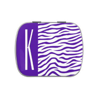 La cebra púrpura y blanca violeta raya el frascos de dulces