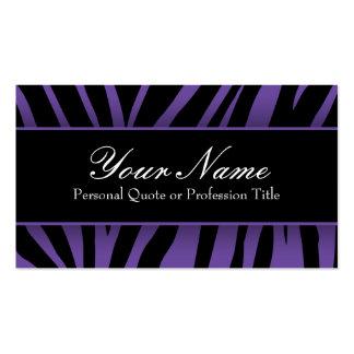 La cebra púrpura y negra elegante raya tarjetas de