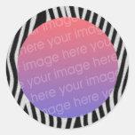 la cebra raya el marco de la foto etiqueta redonda