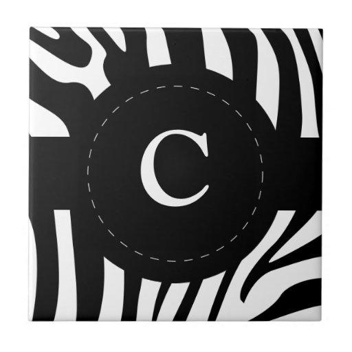 La cebra raya el monograma, personalizado inicial  azulejos ceramicos