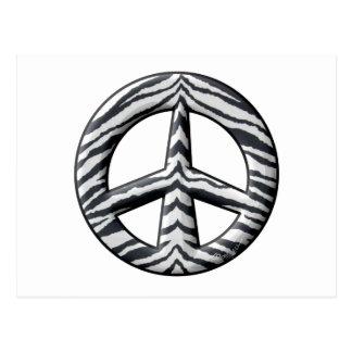 La cebra raya el signo de la paz tarjetas postales