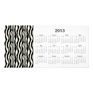 La cebra raya la tarjeta de la foto de 2013 calend tarjeta fotográfica personalizada