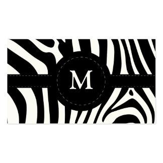 La cebra raya la tarjeta de visita negra y blanca