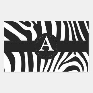 La cebra raya personalizado de la inicial A del mo Pegatinas