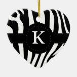 La cebra raya personalizado inicial del monograma  ornamento de reyes magos