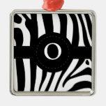 La cebra raya personalizado inicial del monograma  ornamento para arbol de navidad