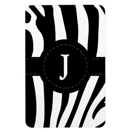 La cebra raya personalizado inicial del monograma  imanes de vinilo