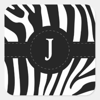 La cebra raya personalizado inicial del monograma pegatina cuadrada
