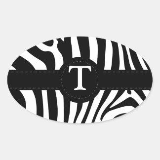La cebra raya personalizado inicial del monograma pegatina ovalada