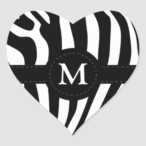 La cebra raya personalizado inicial del monograma pegatina en forma de corazón