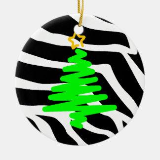 La cebra raya verde del árbol del franqueo del nav ornamento de navidad