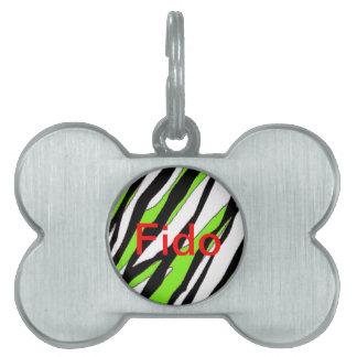 La cebra raya verde lima placa de nombre de mascota