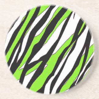 La cebra raya verde lima posavasos de arenisca