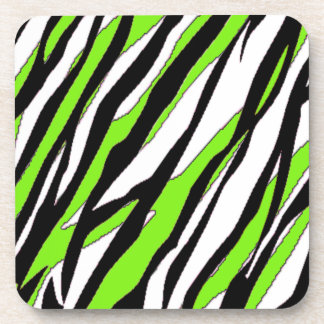 La cebra raya verde lima posavasos de bebida