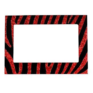 La cebra roja del brillo raya el marco magnético marcos magnéticos