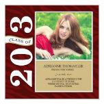 La cebra roja raya la clase de la graduación 2013 invitación