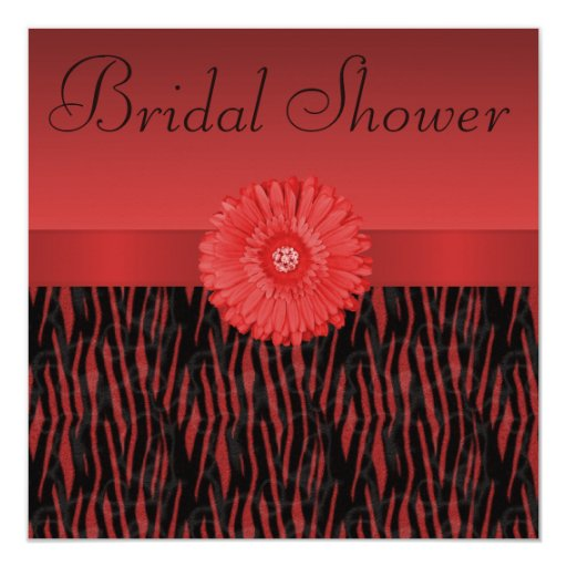 La cebra roja raya la ducha nupcial de la flor de invitacion personal